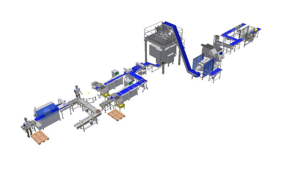 Linia technologiczna do tarcie i kostkowania sera