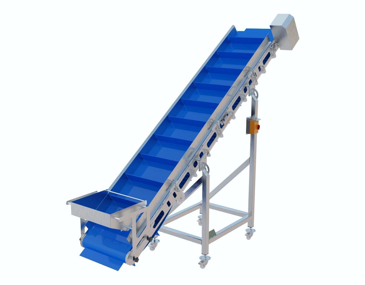 Taśmociąg wznoszący lamelowy doprowadzający produkt z poziomu podłogi do zasypu wilka, kostkownicy, separatora itd.