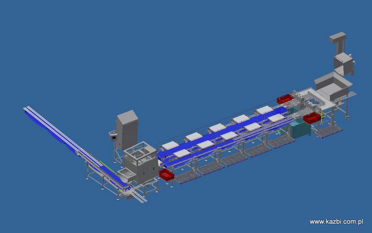 Zautomatyzowana linia do oczyszczania i ręcznego odościania szkieletów łososia po filetowaniu